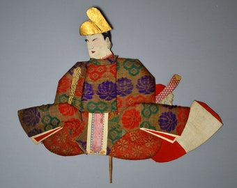 1800's Antique Oshie Japanese Silk Kimono Doll Seated Samurai Oshi-e Okiage Ningyo 2