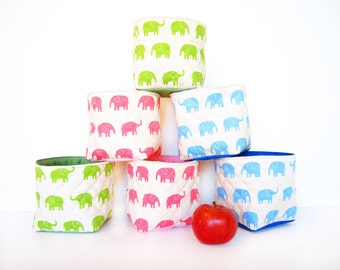 Set of Two Small Fabric Storage Boxes / Fabric Baskets  - Elephant (Choose Your Color!)