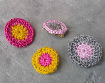 "DUO of pins way roundels on brass gold 24 carats - crochet rosettes / 2 sets of colors - model ""Cot'Cot"""