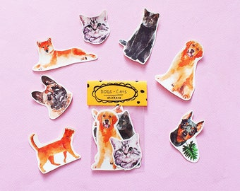 Cat & Dog Sticker Pack - Set of 7 - Vinyl Stickers - Handmade Sticker - Broad City Sticker