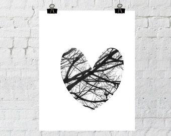 Love Sign, Black and White Heart, Tree Branch Art, Heart Wall Art, Romantic Wall Art, Romantic Prints, Heart Prints, Heart Art