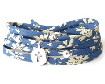 Blue cross bracelet, bereavement gift for mom, Liberty fabric wrap in dark blue and cream, thinking of you gift for strength & support