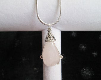 "Rose Quartz Pink Gemstone & Sterling Silver Wrapped Pendant with an 22"" Sterling Snake Chain"