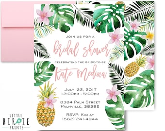 Tropical bridal shower invitation palm tree bridal shower tropical bridal shower invitation pineapple bridal shower invitation palm leaves bridal shower invitation luau hawaiian bridal filmwisefo