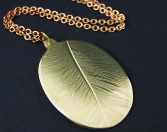 Real Feather Necklace, Brass Feather Necklace