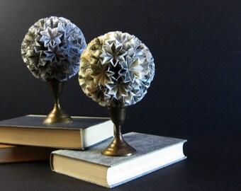 Paper Ball of Stars - Origami Kusudama Ball on Brass Pedestal - Paper Sculpture - Recycled Book Art Sheet Music Art - Black and White Decor