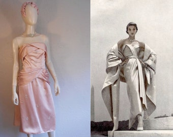 Entering Like She Owns It - Vintage 1940s New Look Pale Pink Satin Pleated Bust & Beaded Gown - 2/4