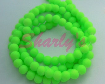 Yarn about 200 beads 4 mm glass satin neon green