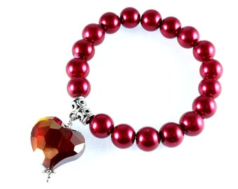 Red Pearl and Crystal Heart Stretch Bracelet, Valentines, Sweetheart, Red Heart