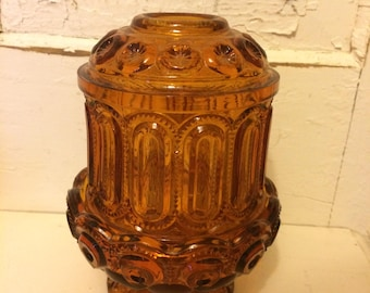 Vintage Moon and Stars Amber Fairy Light Candle Holder