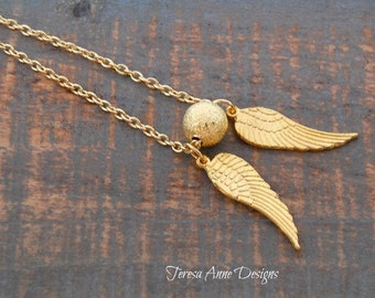 Gold Angel Wings and Stardust Bead Necklace
