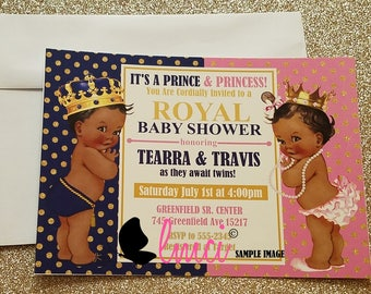 Royal Twins Baby Shower, Prince and Princess Baby Shower - Digital File or Printed