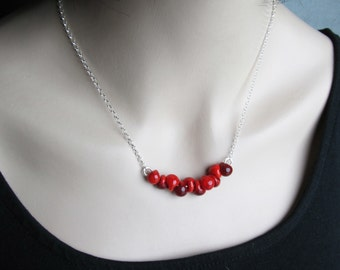 Red Necklace Silver, Blood Red Lampwork Necklace, Sterling Silver Necklace Red Glass Drops, Poppy Red Jewelry, Minimalist Beaded Necklace