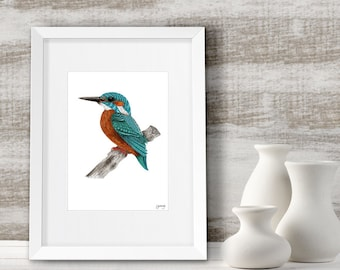 Kingfisher painting, Teal wall art, Home decor, Framed bird art print