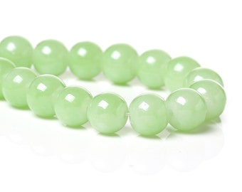 Lime Glass with Luster Beads - 8MM