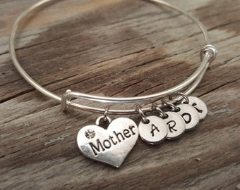 Mother Bangle - Mother Gift - Mother Love - Mother Bracelet - Mother Jewerly - Initials - Bst/In
