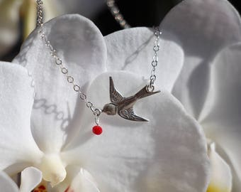 Gift mother's day - 925 sterling silver swallow bird necklace - Crystal Red glass - elegant and romantic jewelry - bird jewelry