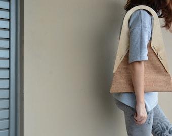 Tote Bag, Wooden geometric, Cork, Bag, Sac, Borsa, Taske, Bolso, Women's accessories, Ecofriendly, gift for her, Handmade, cruelty free