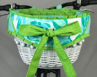 READY TO SHIP - Handwoven Hand Quilted Medium Size Lilly Pulitzer Bow Bike Basket
