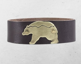 """Bear in the Mountains  Leather Cuff Bracelet- one of a kind, 3/4"""" leather cuff"""
