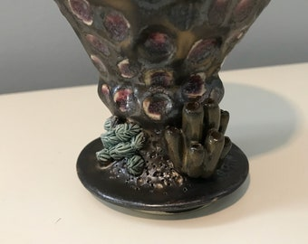 Wheelthrown and handsculpted pottery ceramic goblet chalice or wine cup