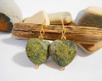 Olive Green Snakeskin Jasper Earrings Green Stone Heart Earrings Olive Drab Earrings Valentines Day Jewelry Girlfriend Gift Romantic Gifts