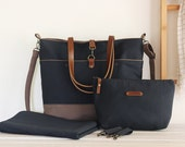 LARGE diaper bag set. Dark navy and brown canvas. diaper bag, nappy pouch, change mat and detachable clips. Waterproof lining available