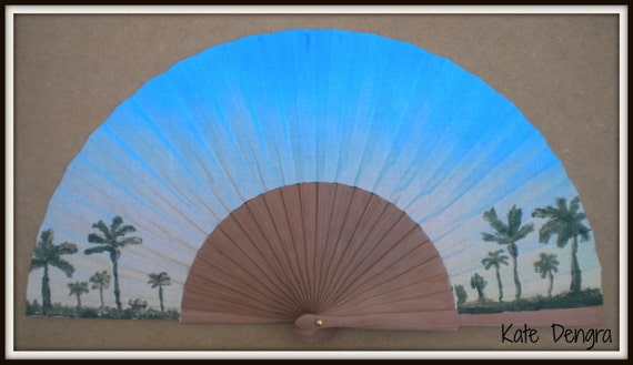 Sunset Palm Trees Wooden Festival Hand Fan MTO