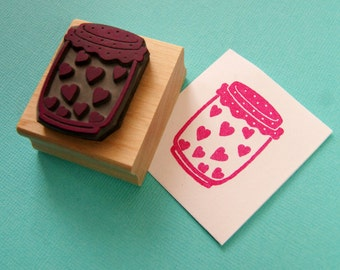 Jar of Hearts Rubber Stamp - Jam Jar Stamper - Mason Jar Stamp - Wedding Stamp - Wedding Gift - Handmade Wedding Invite - DIY wedding