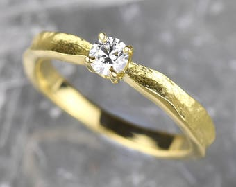 Unique Gold Diamond Engagement Ring | Gold Diamond Ring | Diamond Solitaire Ring | Diamond Engagement Ring | Unique Engagement Ring