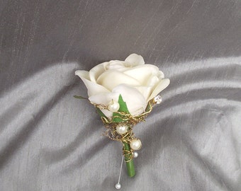 Linen ivory rose and gold boutonniere, prom boutonniere, pearl wedding, rose buttonhole, gold wedding, rose and pearl wedding flowers