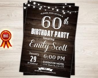 Surprise 60th birthday invitation. Man Surprise birthday party invitation. 60th Birthday Invitation for Men. 40th 50th 60th birthday invite
