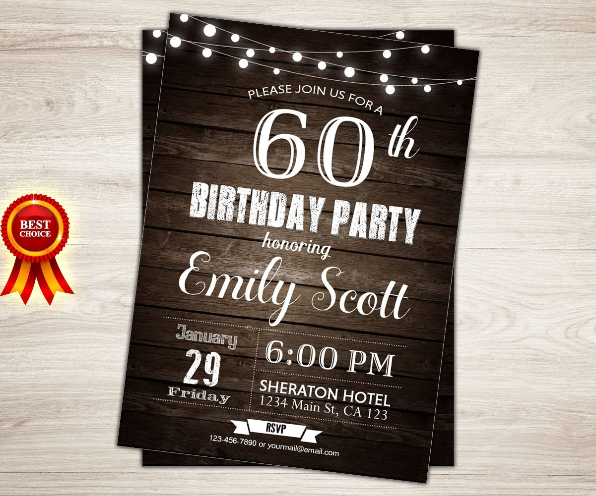 Surprise 60th birthday invitation. Man Surprise birthday party