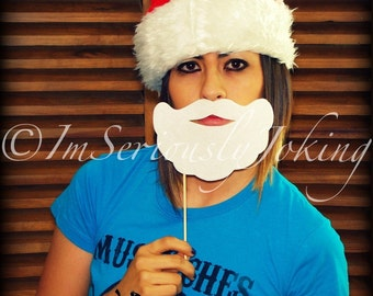 Santa's Beard on a Stick- Christmas- Beard on a Stick- Mustache on a stick