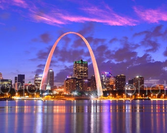 CANVAS St Louis Skyline DUSK Panoramic Photo Print Cityscape Saint Louis Gateway Arch