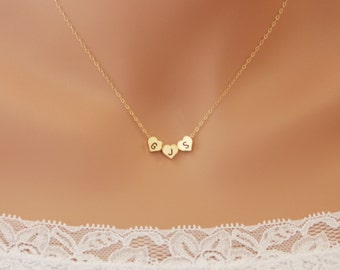 THREE Hearts Initial Necklace reversible - engraved personalized necklace, 14K gold filled chain, birthday Mom daughter Mothers day gifts