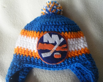Crocheted New York Islander's Inspired or (Choose your team) Baby Beanie/Hat - Made to Order - Handmade by Me