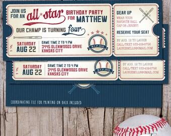 Vintage Baseball Birthday Invitation, Baseball Ticket Invitation, First Birthday Boy, Little Slugger, Baseball Birthday Party, PRINTABLE