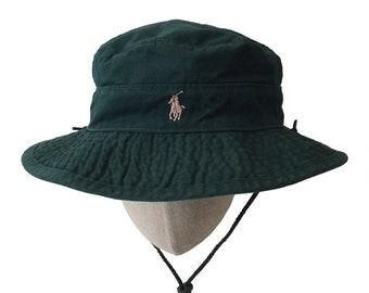 POLO Ralph Lauren Bucket Hat with Chin Strap / Polo Ralph Lauren Deck Hat / Polo Hiker Camper Hunter Bucket Hat / Survival Bucket Hat