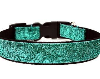 "Aqua Dog Collar 1"" Glitter Dog Collar"