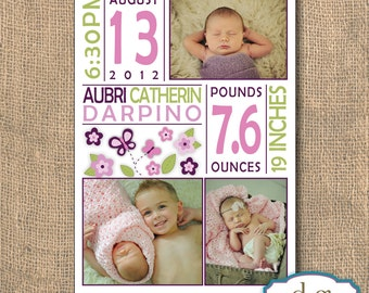 Butterflies and Flowers Baby Announcement - 5x7 PRINTABLE