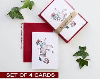 Christmas Greeting cards set, Watercolor Xmas cards set, Season greetings, Handmade set of cards and envelope, Holiday cards