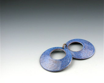 Enameled Domed  Hoops  /  Nitric Blue Enamel  / Made to Order