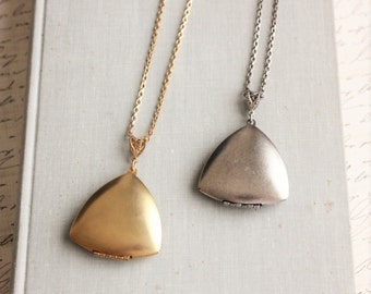 Triangle Locket Necklace. Silver or Gold