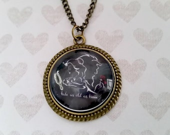 Beauty and the Beast necklace - Tale As Old As Time - Vintage Beauty and the Beast