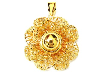 18K 21K 22K Yellow Gold Blossom Flower Pendant Necklace Love Gift Jewelry for Her