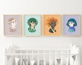 Set of 4 posters, four season illustration, poster print, nursery room, kids room, kids illustration, season poster for kids, season print