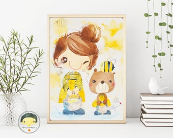 Girl and Bear-Yellow-Kids Room Decor-Baby Girl Wall Art-Illustration-Children's Decor-Home Decor Wall Art Home Decor-Watercolor Painting