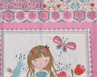 Beautiful Garden Girl Tea & Sympathy Studio E fabrics  2 half yards + 1 panel set