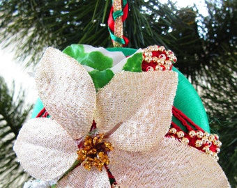 Green Satin Ball With Red Crocheted Motif Gold Beads Ponsettia